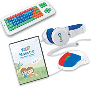 Bundle: Clevy Home Schooling Package: Large Print Colored Keyboard, Kids Mouse, Headphone and ABC Maestro, Keyboarding Multilingual Tutor Software (Home Edition)