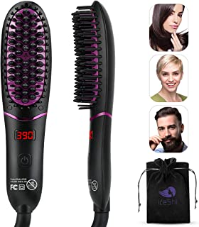 Ionic Hair Straightener Brush, KESHI 30s Fast Heating Ceramic Hair Straightening Brush, Portable Electric Straightening Comb with Anti Scald Feature & 5 Adjustable Temperature, Auto-Off & Dual Voltage