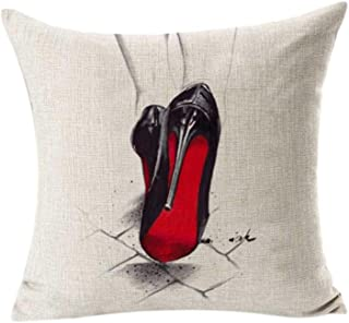KMG Kimloog Red Bottoms Stilettos Shoes Black High Heels Pattern Throw Pillow Case Decoration Square Cotton Linen Cushion Covers (B)