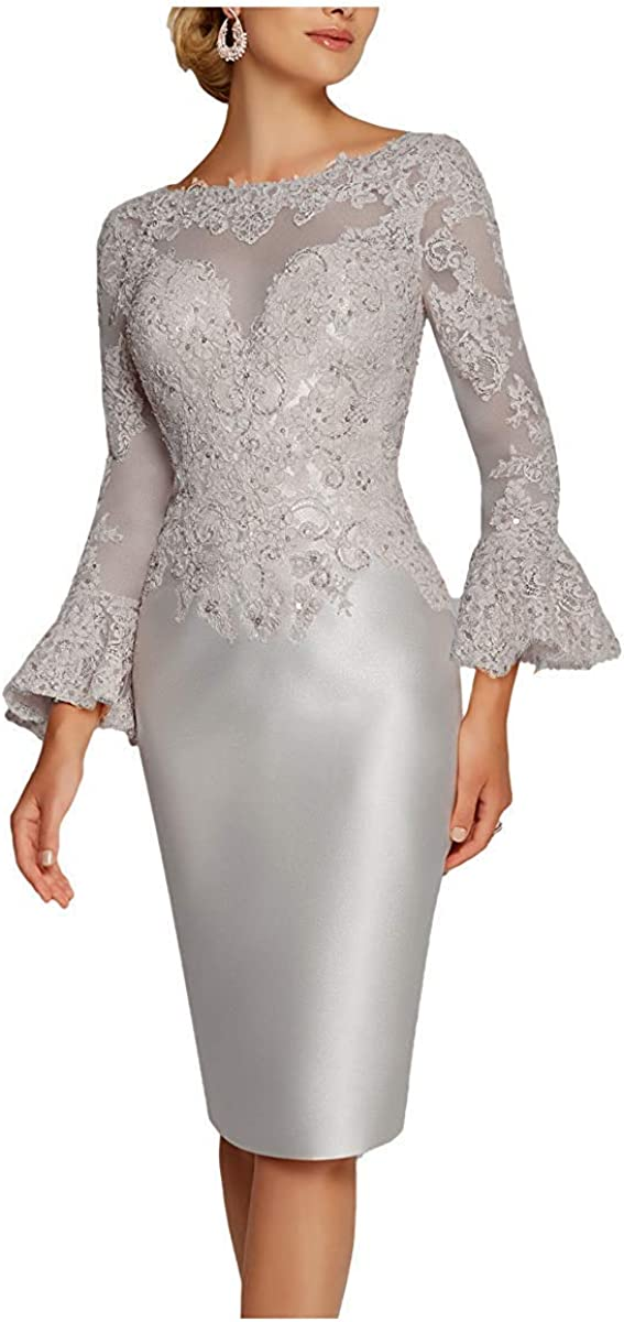 Zaozc Women's Tea Length Mermaid Mother of The Bride Dresses Lace Ruffle 3/4 Sleeves Evening Cocktail Gowns