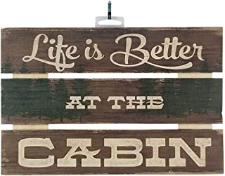 Imprints Plus Life is Better at The Cabin Inspirational Reclaimed Wood Sign, 12