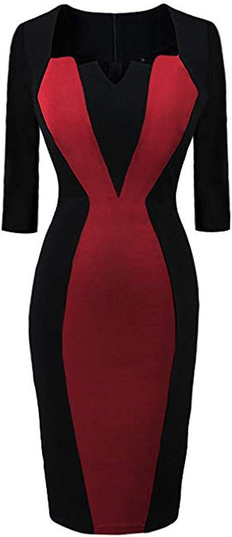 Kaideny Women Round Neck Long Sleeve Retro Chic Colorblock Pencil Dress Elegant Patchwor Career Business Dress