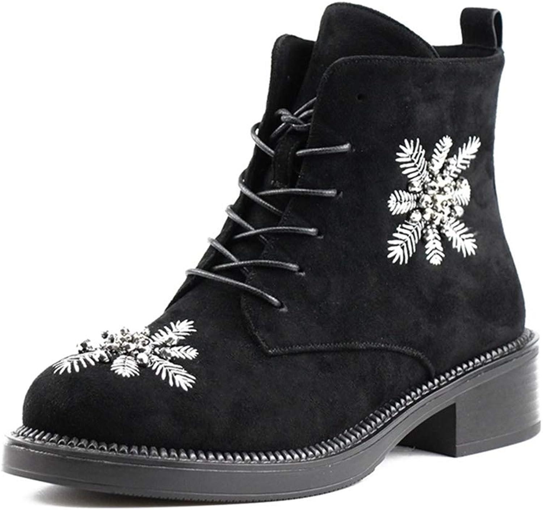 DoraTasia Women' s Elegant Floral Mid Block Heel Lace-up Ankle Boots Cool Punk Dress Bootie