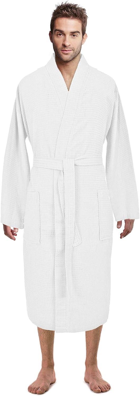 Premium Turkish Cotton Waffle Weave Lightweight Kimono Spa Bathrobe for Men