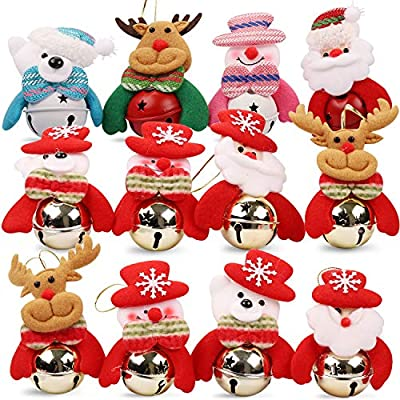 HomeMall 26PCS Christmas Tree Hanging Supplies Ornaments - 12 PCS Silver & 12 PCS Gold Glitter Snowflakes (4 Inch), 2 PCS Santa Jingle Bells (4 * 3.2 Inch) for Xmas Tree Decorations Indoor