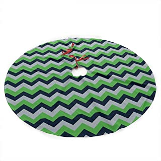 LALABULU Christmas Tree Skirt 35.5 Inches Xmas Tree Skirt Seattle Seahawks Chevron Christmas Decorations Indoor Outdoor