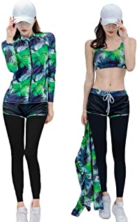 レディース フィットネス用水着 女性水着 4点セット 長袖 体型カバー UVカット