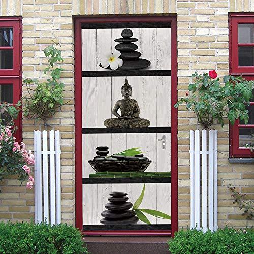Warreal Protezione Ambientale Creativa 3D Adesivi per Porte Statua di Buddha Adesivi in PVC Autoadesivi per La Ristrutturazione della Parete della Camera da Letto