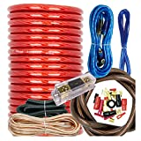 Audiobank BCC4AR Complete 4 Gauge 3000 Watts Car Amplifier Installation Power Amp Wiring Kit Inline AGU Fuse Holder & 80A Fuse and All The Accessories / Terminal Included Red