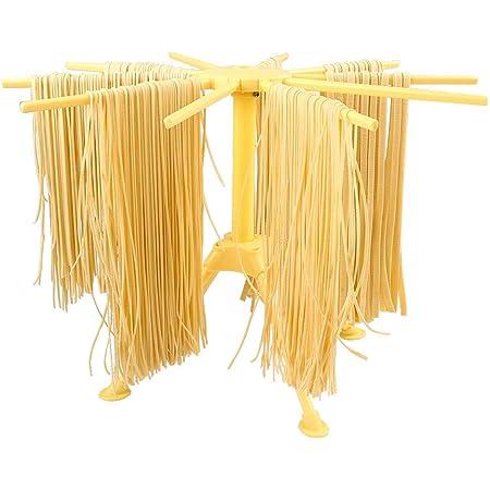 Séchoir à pâtes pliable - Séchoir à pâtes avec séchoir à 10 barres - Compact, facile à ranger, Installation rapide (Jaune)