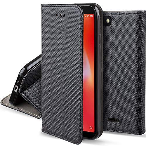 Moozy Hülle Flip Hülle für Xiaomi Redmi 6A, Schwarz - Dünne Magnetische Klapphülle Handyhülle mit Kartenfach & Standfunktion