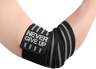 HYFAN Professional Wrist Elbow Knee Wraps Elastic Straps Brace Support Protector for Weightlifting Workout Bodybuilding Gym Fitness