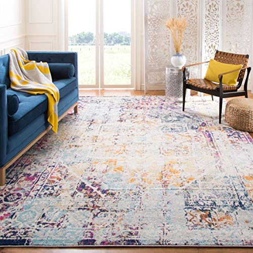 Safavieh Madison Collection MAD922A Boho Chic Medallion Watercolor Distressed Non-Shedding Stain Resistant Living Room Bedroom Area Rug, 12' x 15', Ivory / Aqua