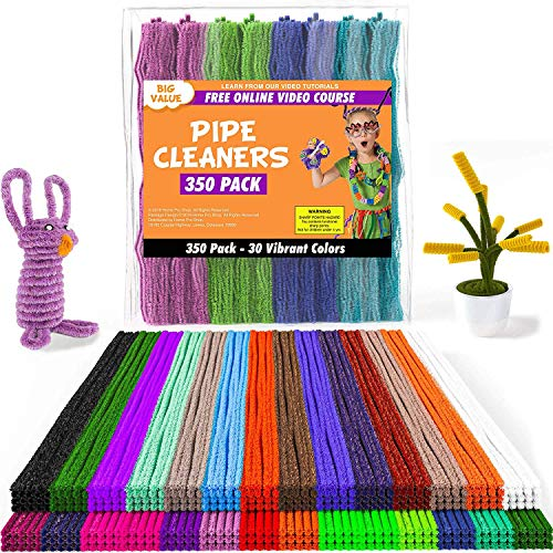Fluffy Pom Poms Toy Eyes 100x Chenille Stems Craft Pipe Cleaners