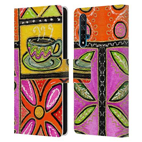 Head Case Designs Offiziell Zugelassen Wyanne Kaffee Und Blumen Natur Leder Brieftaschen Handyhülle Hülle Huelle kompatibel mit Huawei Nova 5T