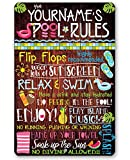 Personalized Pool Rules - Durable Metal Sign - 8' x 12' or 12' x 18' Use Indoor/Outdoor - Great Gift and Decor for Pool Area Under $25