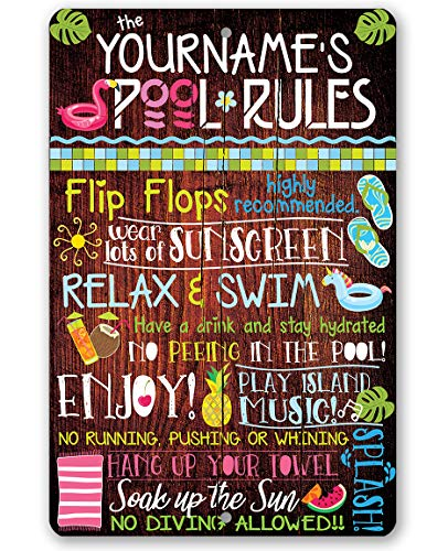 """Personalized Pool Rules - Durable Metal Sign - 8"""" x 12"""" or 12"""" x 18"""" Use Indoor/Outdoor - Great Gift and Decor for Pool Area Under $25"""