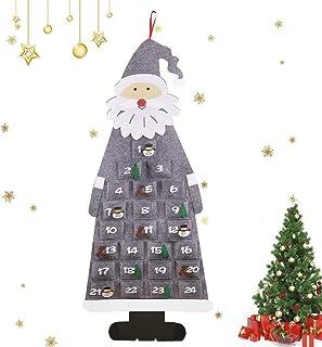 アドベントカレンダー 2020 クリスマス 飾り、フェルトニコラスアドベント、クリスマスカレンダー自体はサンタ、アドベントカレンダーの袋を充填、を埋めるためのクリスマスカレンダー,グレー