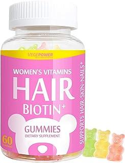 VegePower Hair Vitamin Gummies-Biotin 10,000 mcg Vitamin C & E for Healthy Hair, Skin & Nails-Vegan, Pectin...