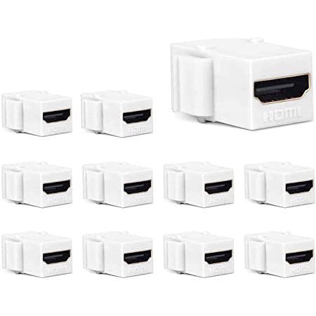 HDMI Keystone Jack, PHIZLI 10 Pack HDMI Keystone Insert Female to Female Coupler Adapter (White)