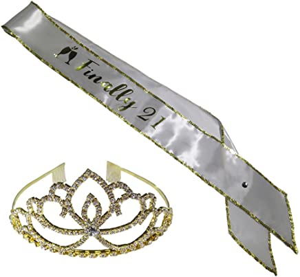Amazon com: 21 birthday sash and crown