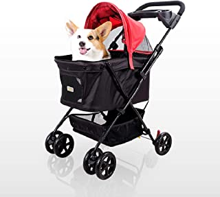 ibiyaya Affordable Multiple pet Strollers for one Medium or 2 Small Dogs or Cats with Convertible Awning and Easy fold-up Design