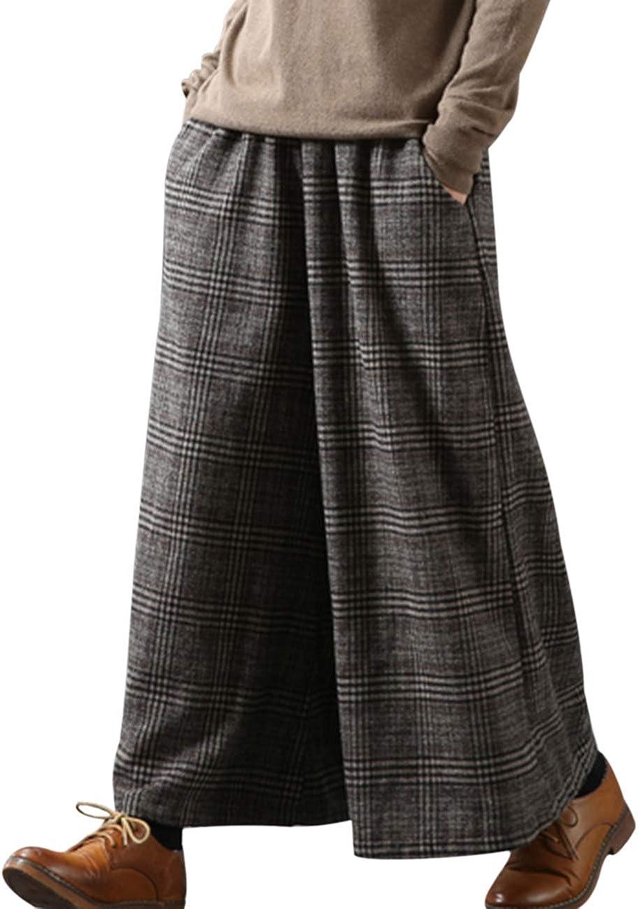 YESNO PK5 Casual Loose Cropped Pants Wool Blend Warm Trousers Checks Wide Leg Pockets (2XL, Coffee)