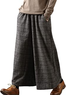 YESNO PK5 Casual Loose Cropped Pants Wool Blend Warm Trousers Checks Wide Leg Pockets