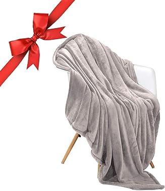"Panku Flannel Blanket Super Soft Flannel Blanket Comfort Cozy Throw Blanket Lightweight Blanket-Silvery Grey, Throw(50""x60"")"