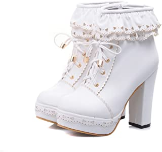 Women's Lace Up Platform High Heel Ankle Boots Sweet Lolita Shoes PU Leather Ruffle Booties