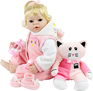 Aori Realistic Reborn Baby Doll 22 Inch Lifelike Weighted Reborn Baby Girl Doll with Pink Kitty Clothes and Accessories