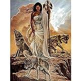 Lobo indio animal DIY bordado punto de cruz 11CT 40X50CM kit bordado artesanal set lienzo impreso hilo de algodón decoración del hogar