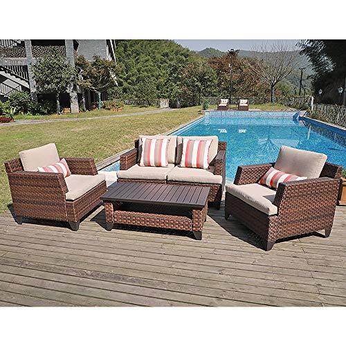 SUNSITT 5-Piece All-Weather Rattan Conversation Set Brown Wicker Outdoor Furniture Sofa Set, Coffee Table w/Aluminum Slatted Top
