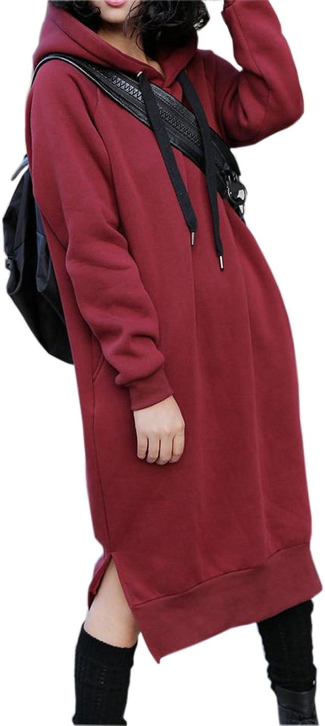 Nutexrol Damen Winter Hoodie Kapuzenpullover Lang Kapuzenjacke Sweatjacke Übergröße Kleider Sweatshirt Warm Outwear mit Fleece-Innenseite Rot