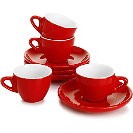 Amazon Com Uniware Set Of 6 Porcelain Espresso Cups Set With Saucers Red Metal Holder Bamboo Base Cup Saucer Sets