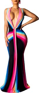 Women's Deep V-Neck Sleeveless Floral Maxi Dresses Sexy Long Party Dresses