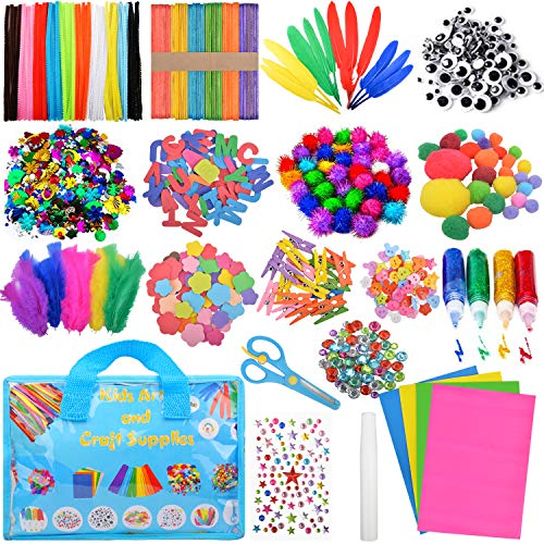 Victostar Arts and Crafts Supplies for Kids, Including Pipe Cleaner, Wiggle Googly Eyes, Pom Poms, Buttons, Feathers, Ice Cream Sticks, Sequins,Little Clip and More