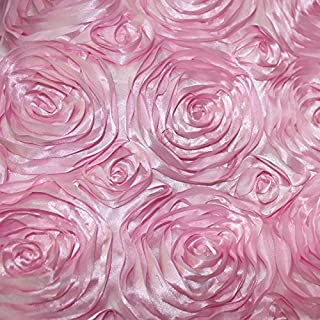 Rose Satin Fabric 3D 52 inches / 54 inches Width sold by the yard Pink
