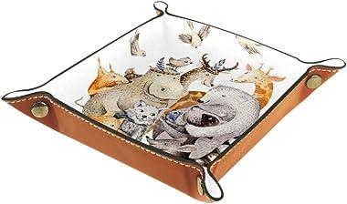 Cute Family Baby Fox Valet Tray Storage Organizer Box Coin Tray Key Tray Nightstand Desk Microfiber Leather Pouch,16x16cm