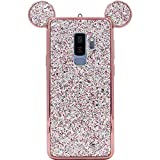 Galaxy S9 Plus Case, MC Fashion Cute Bling Bling Sparkle Glitter 3D Mickey Mouse Ears Flexible and Protective TPU Case for Samsung Galaxy S9 Plus (2018 Release) (Rose Gold)