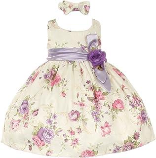 e95743646 Baby Girls Lilac Floral Printed Jacquard Sash Hair Bow Dress 6-24M