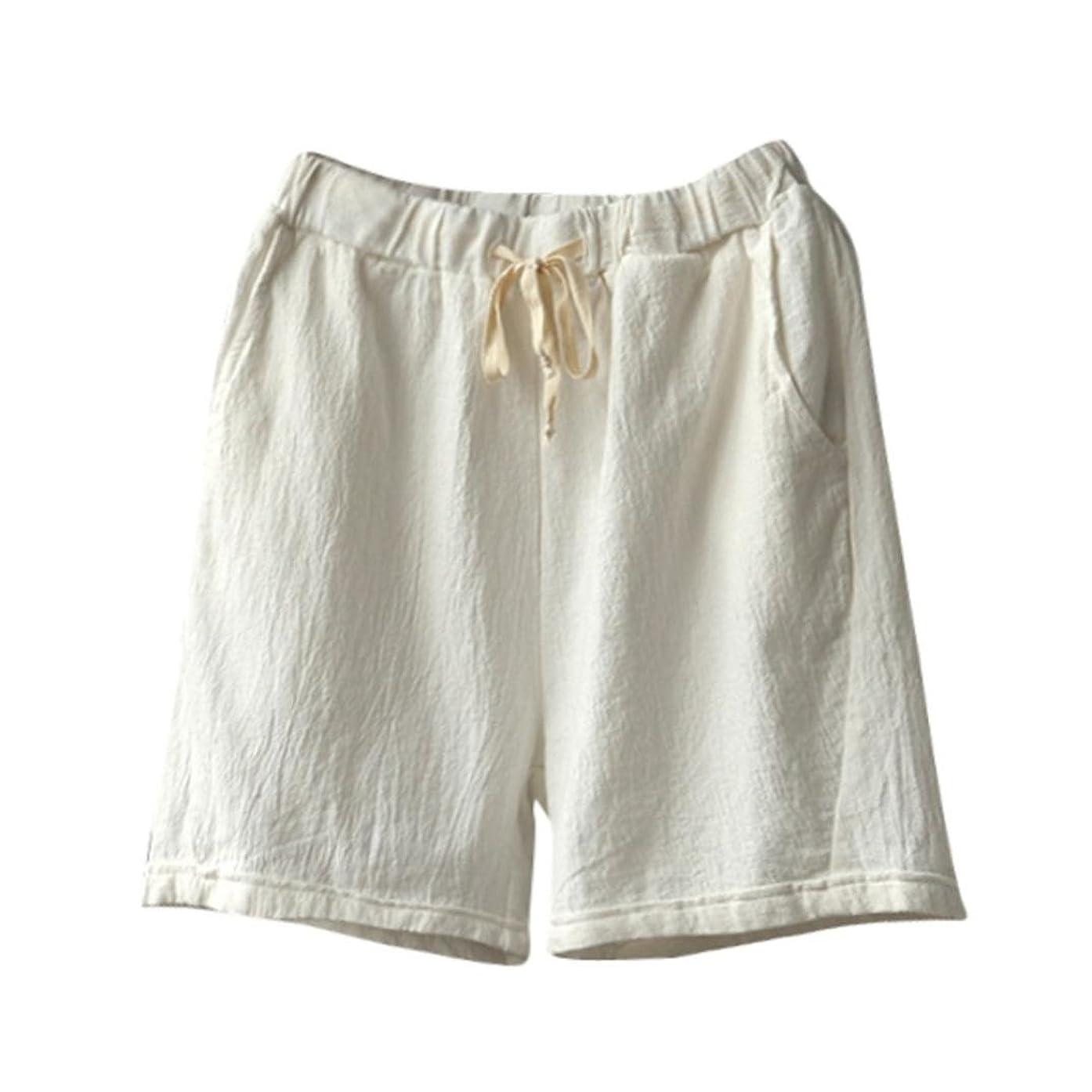 Women Cotton Linen Summer Short Pants Elastic Waist Pocket Casual Shorts Jersey Lounge Walking Shorts
