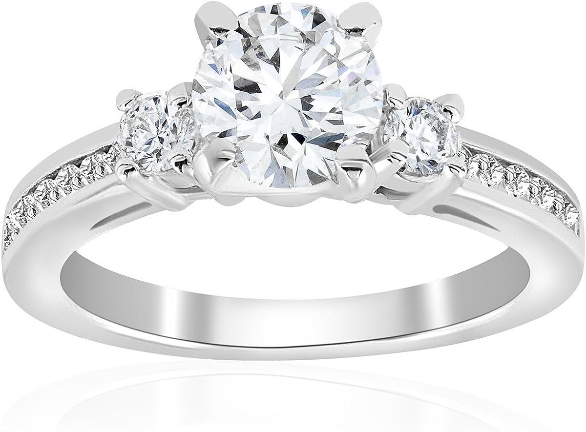 1 ct Diamond Engagement Ring 3-Stone 14K White Gold