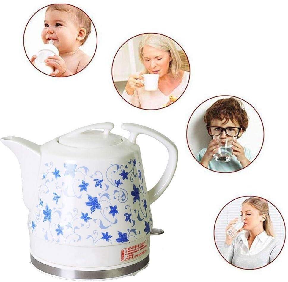 Wyxy Bouilloire électrique sans Fil en céramique Blanche avec théière rétro de 1,2 l, 1200 W Rapide à l'eau pour Le thé, café Rapide (Couleur: A) A