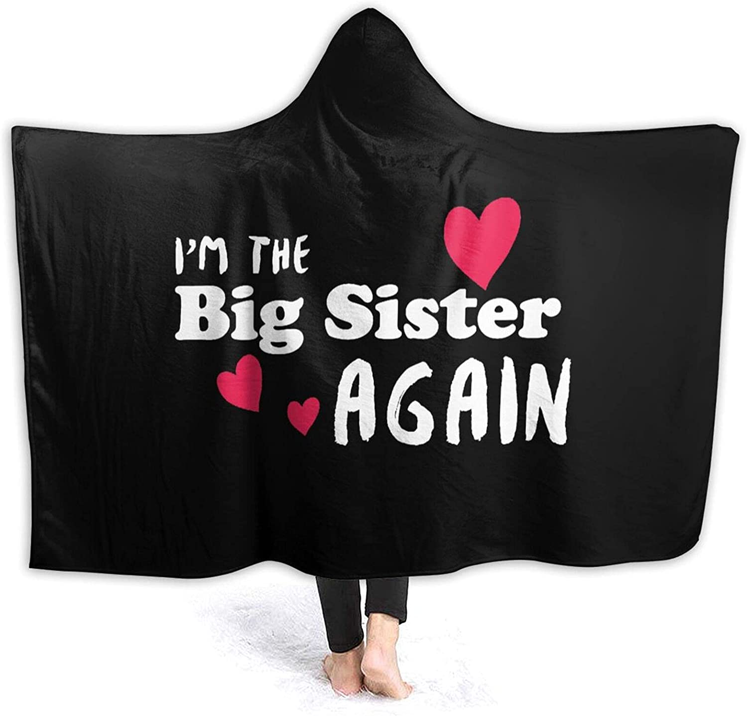 Hooded Super popular specialty store Blanket Poncho I'm The Big OFFicial store Sister Coz Soft Flannel Fleece