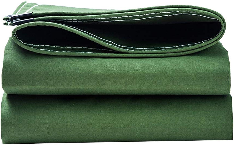 ZXQZ Tarps Tarpaulin  Outdoor Plus Thick Canvas Tarpaulin Sunscreen Rainproof Windproof Wearable Truck Camping Tarpaulin Green Visor Cloth (Size   2M×2M)