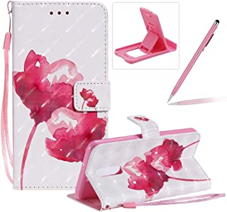 Strap Leather Case for LG Stylo 5,Wallet Flip Case for LG Stylo 5,Herzzer Bookstyle Stylish 3D Pretty Rose Pattern Magneti...