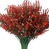 8Pcs Flores Artificiales de Lavanda Roja, Ramo de Lavanda Flores Artificiales Plantas de Resistentes a Los Rayos UV, Ramo de Flores Secas Naturales para Interiores Exteriores Bricolaje Boda Jardín