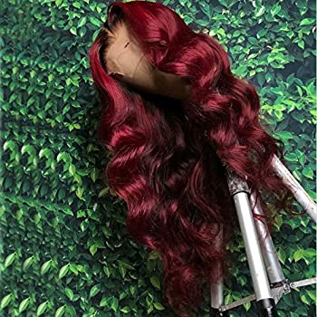 Lace Front Wig Red Color Human hair New Hairstyle Soft With L25 Inch
