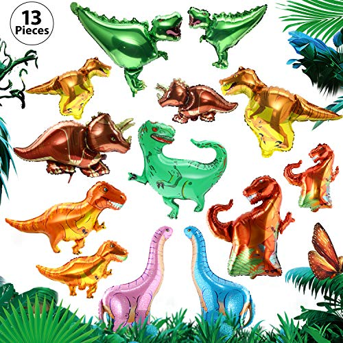 Gejoy Dinosaur Foil Balloons 13 Pieces Dinosaur Aluminum Mylar Helium Balloons for Dinosaur Theme Jungle Party Birthday Baby Shower Decorations